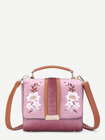 Symmetrical Flower Embroidered Flap Velvet Bag
