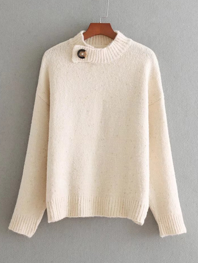 Button Detail Jumper Sweater
