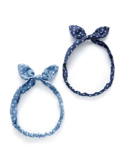 Star Print Knot Ear Headband 2pcs