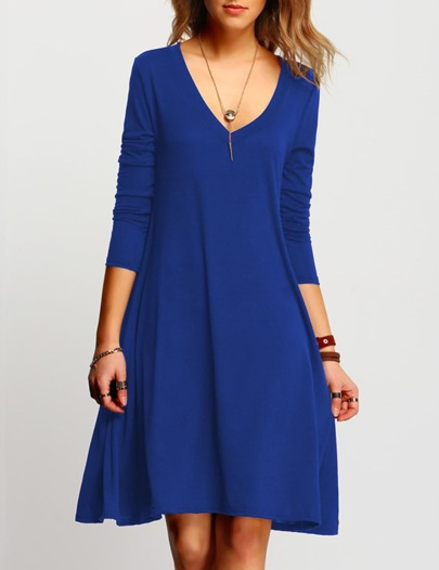 V Neckline Swing Dress