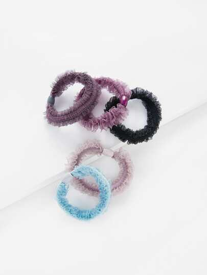 Frill Trim Hair Tie 5pcs