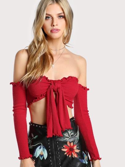 Front Tie Bardot Sleeve Crop Top RED