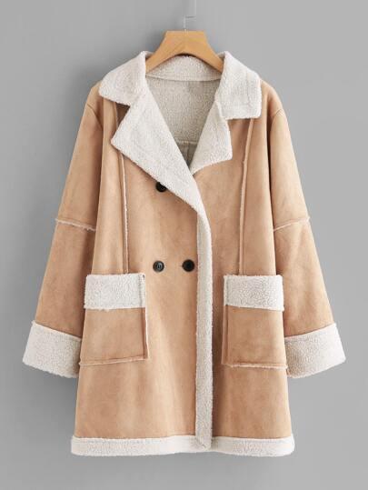 Faux Fur Shearling Suede Coat