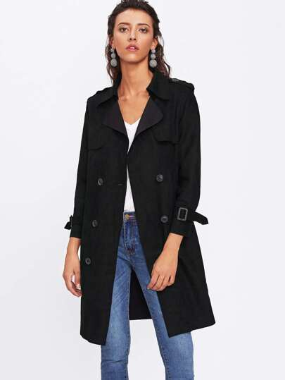 Raw Edge Suede Trench Coat