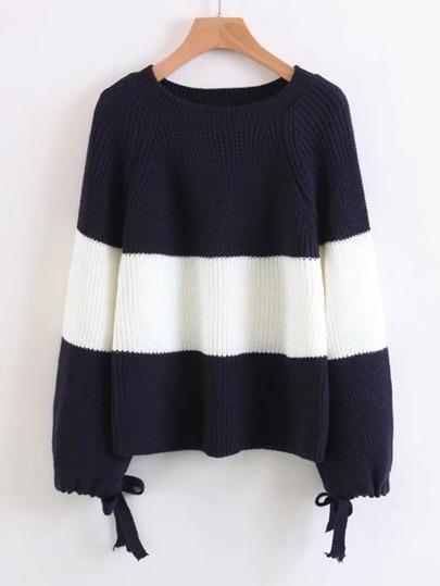 Suéter de puño con cordón de rayas block