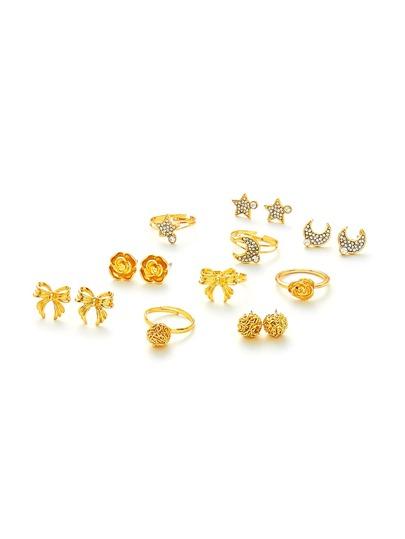 Moon & Flower Design Ring & Earring Set
