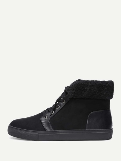 Faux Fur High Top Lace Up Sneakers