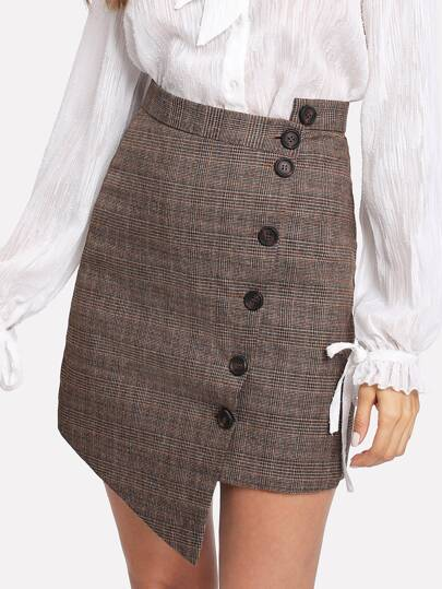 Button Up Asymmetrical Plaid Skirt