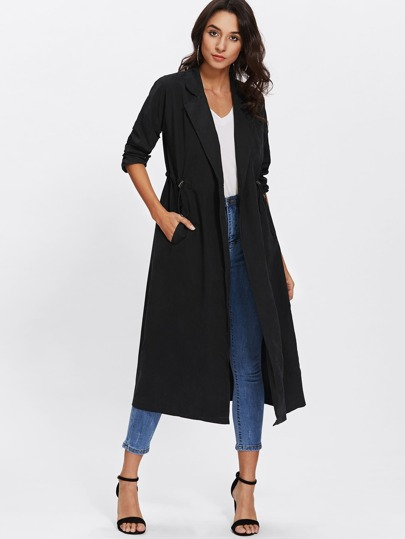 Slit Back Drawstring Waist Coat