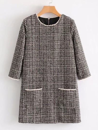 Contrast Trim Plaid Tweed Dress