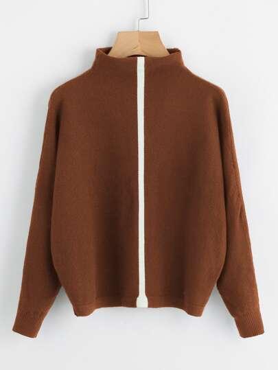 Mock Neck Contrast Panel Batwing Sweater