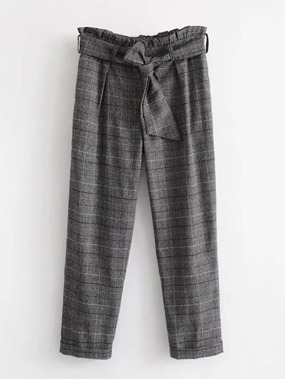 Pantalones de cuadros de cintura fruncido con cinturón