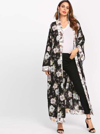 Kimono long floral avec ceinture