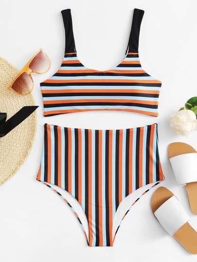 Set di bikini a strisce