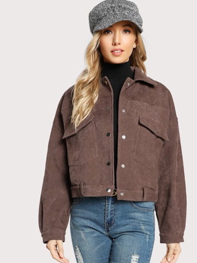 Dual Flap Pocket Front Cord Jacket