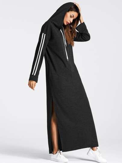 Vestido de capucha con abertura en la parte lateral