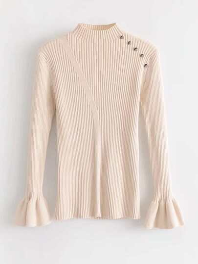 Button Detail Fluted Sleeve Slim Fit Knitwear
