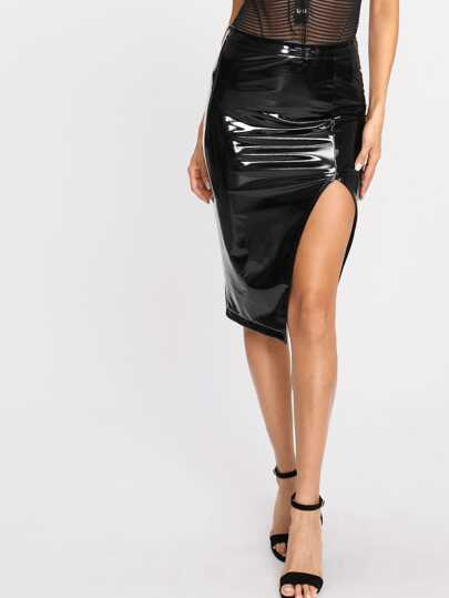 Slit Front PU Leather Skirt