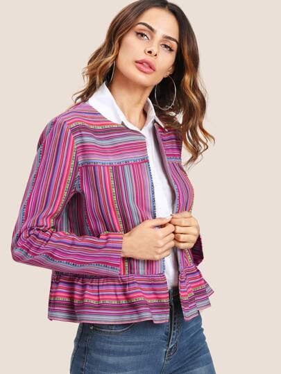 Open Front Mixed Striped Jacket