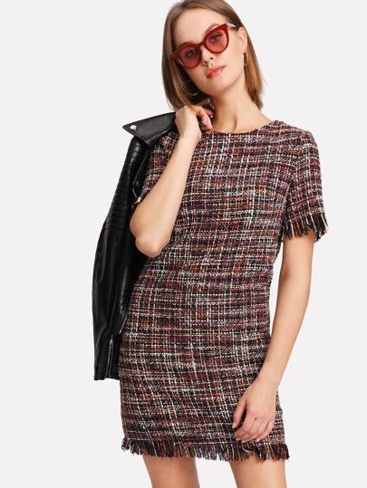 Fringed Trim Tweed Dress