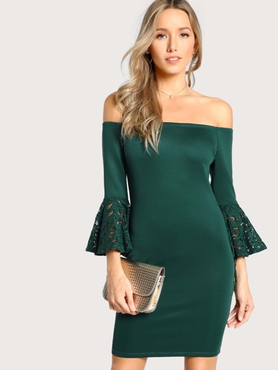f6f444a76b99 Bell Sleeve Bardot Bodycon Dress EXCLUSIVE · SHEIN ...