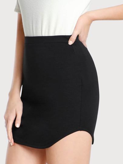 Curved Hem Stretch Knit Skirt