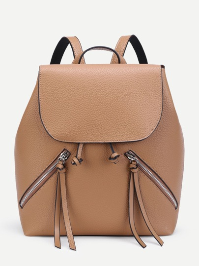 Double Zipper Front Flap Backpack