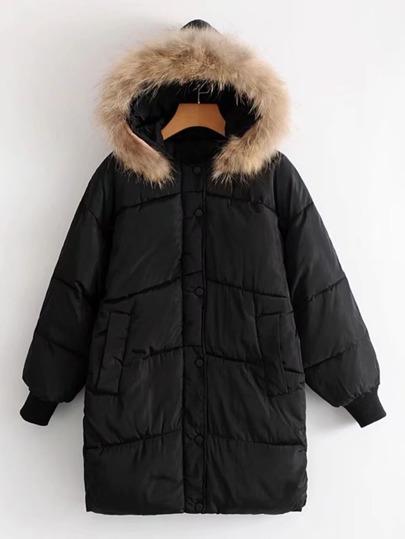 Contrast Faux Fur Hooded Longline Padded Coat