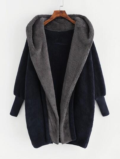 Contrast Hood Plush Coat