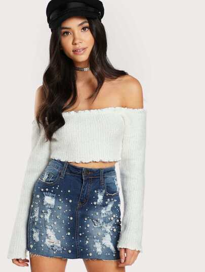 Off Shoulder Long Sleeve Cropped Sweater WHITE