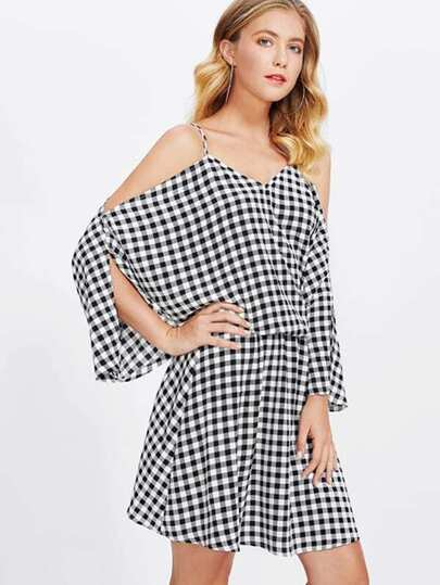 Dolman Sleeve Gingham Blouson Dress