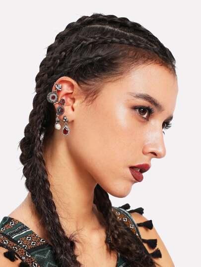 Set di orecchini con strass a contrasto