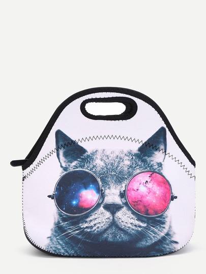 Bolsa de almuerzo con estampado de gato