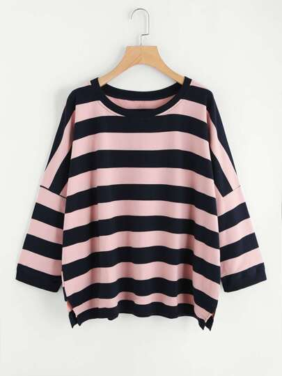 Sweat-shirt oversize rayure