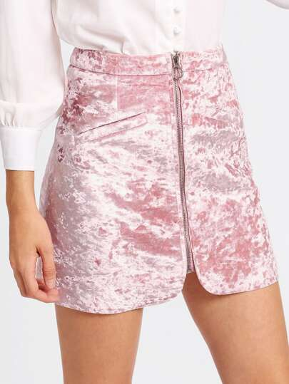 Zip Up Crushed Velvet Skirt