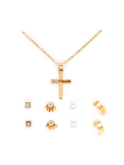 Cross Pendant Necklace & Stud Earring Set