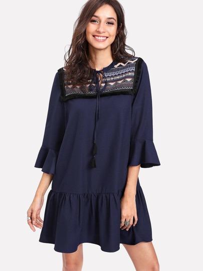 Tassel Tie Jacquard Yoke Flounce Dress