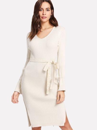 Rib Knit Side Slit Self Tie Dress