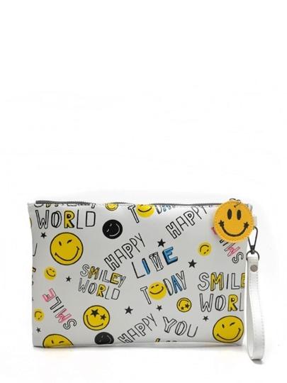 الحقيبة برموز المشاعر مع السلسلة اللون الابيض