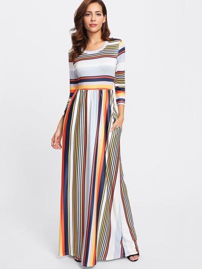 Multi Striped Full Length Dress