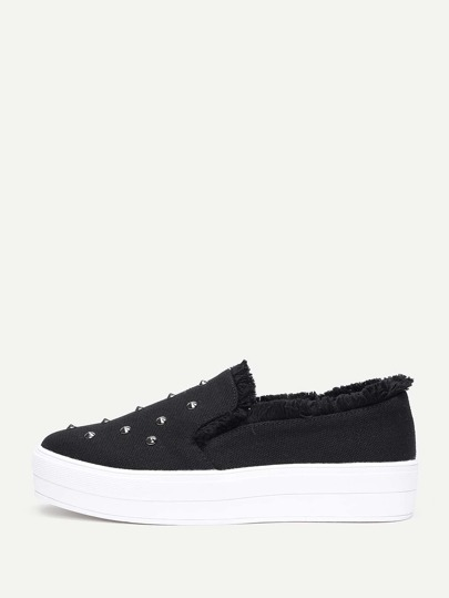 Studded Detail Raw Trim Sneakers