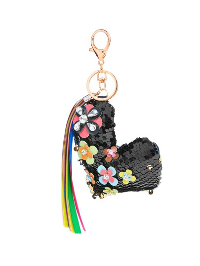 Flower Detail Heart Keychain With Tassel