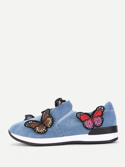 Zapatillas slip on bordadas de mariposa