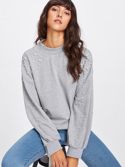 Pearl Embellished Drop Shoulder Heathered Knit Pullover