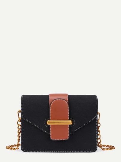 Two Tone Flap Chain Bag