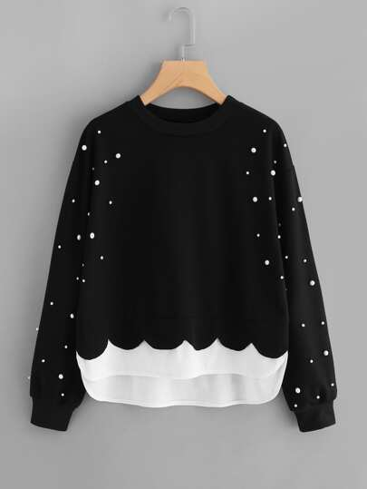 Sweat-shirt 2 en 1 bord contrasté avec perle
