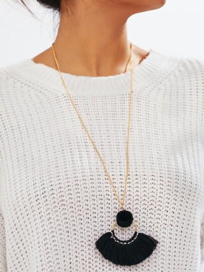 Collier avec pendentif de frange & pompon