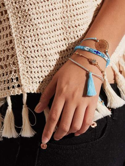 Tassel & Hollow Design Bracelet Set