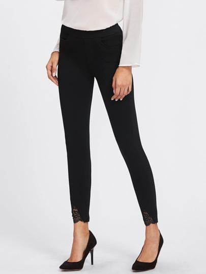 Lace Contrast Pants