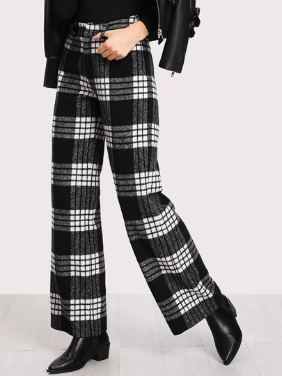 High Waist Plaid Straight Leg Pants